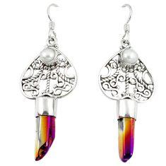 Titanium aura quartz (arkansas) pearl 925 silver dangle earrings jewelry d10022