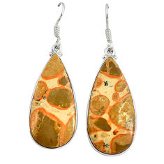 Natural yellow crinoid fossil 925 sterling silver dangle earrings d10060