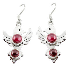 Clearance Sale- Natural red garnet round 925 sterling silver dangle earrings jewelry d10198
