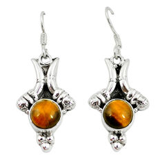 Clearance Sale- Natural brown tiger's eye 925 sterling silver dangle earrings jewelry d10199