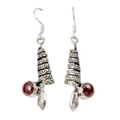 Clearance Sale- 925 sterling silver natural red garnet round snake earrings jewelry d10224