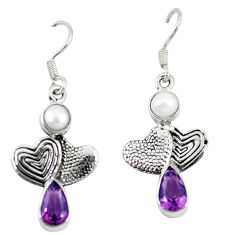 Natural purple amethyst white pearl 925 silver couple hearts earrings d10225