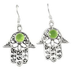 Clearance Sale- Natural green prehnite 925 silver hand of god hamsa earrings jewelry d10407