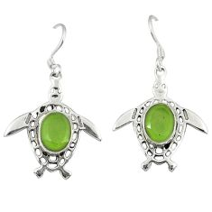 Clearance Sale- Natural green prehnite 925 sterling silver tortoise earrings jewelry d10412