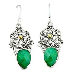 Clearance Sale- Green emerald quartz 925 sterling silver dangle earrings jewelry d12324