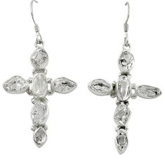 Clearance Sale- Natural white herkimer diamond 925 silver holy cross earrings d12353