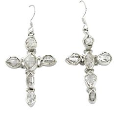 925 silver natural white herkimer diamond holy cross earrings jewelry d12358