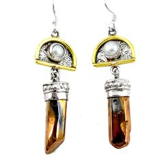 925 silver 14k gold dangle earrings d12369