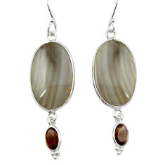 Clearance Sale- Natural grey striped flint ohio 925 silver dangle earrings jewelry d12459