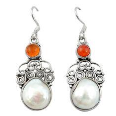 Clearance Sale- pearl cornelian (carnelian) 925 silver dangle earrings d12464