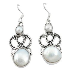Clearance Sale- ver natural white blister pearl dangle earrings jewelry d12480