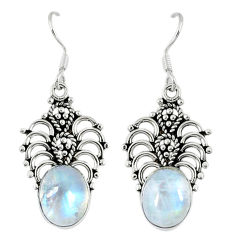 Clearance Sale- 925 sterling silver natural rainbow moonstone dangle earrings jewelry d12499