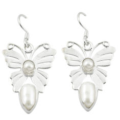 Clearance Sale- Natural white pearl 925 sterling silver dangle earrings jewelry d12525