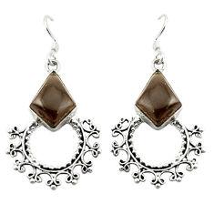 Clearance Sale- Brown smoky topaz 925 sterling silver dangle earrings jewelry d12530