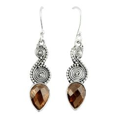 Clearance Sale- Brown smoky topaz 925 sterling silver dangle earrings jewelry d12625