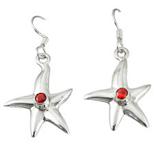 Clearance Sale- Natural red garnet 925 sterling silver star fish earrings jewelry d12631