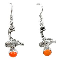 Natural orange onyx 925 sterling silver anaconda snake earrings jewelry d12680