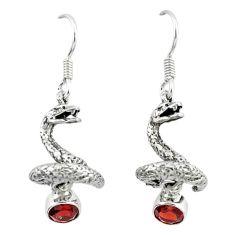 925 sterling silver natural red garnet anaconda snake earrings d12685