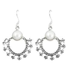Clearance Sale- Natural white pearl 925 sterling silver dangle earrings jewelry d12691