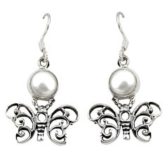 Clearance Sale- ver natural white pearl butterfly earrings jewelry d12696