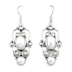 Clearance Sale- Natural white pearl 925 sterling silver dangle earrings jewelry d12712