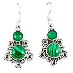 Clearance Sale- Natural green malachite (pilot's stone) 925 silver dangle earrings d12725