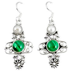 Clearance Sale- Natural green malachite (pilot's stone) 925 silver dangle earrings d12728