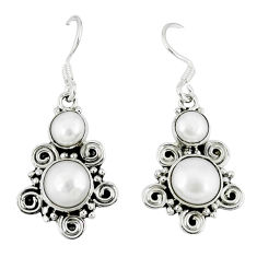 Clearance Sale- ver natural white pearl dangle earrings jewelry d12744