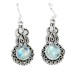 Natural rainbow moonstone 925 sterling silver dangle earrings d12768