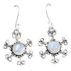 Clearance Sale- Natural rainbow moonstone 925 sterling silver dangle earrings d12771