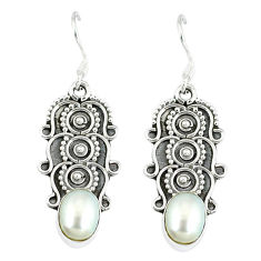Clearance Sale- ver natural white pearl dangle earrings jewelry d12804