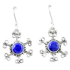 Clearance Sale- Natural blue lapis lazuli 925 sterling silver dangle earrings d12886
