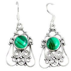 Clearance Sale- Natural green malachite (pilot's stone) 925 silver dangle earrings d12910