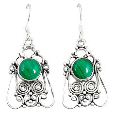 Clearance Sale- Natural green malachite (pilot's stone) 925 silver dangle earrings d12914