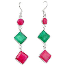 ver natural green emerald red ruby dangle earrings d12925