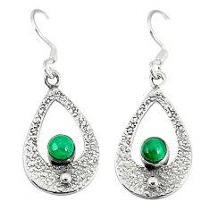 Clearance Sale- 925 silver natural green malachite (pilot's stone) dangle earrings d12971