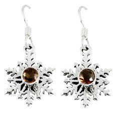 Clearance Sale- Brown smoky topaz 925 sterling silver dangle earrings jewelry d13015