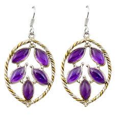 Clearance Sale- methyst 925 silver two tone dangle earrings d13083