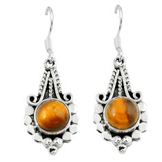 925 sterling silver natural brown tiger's eye dangle earrings jewelry d13597