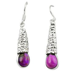 Clearance Sale- Purple copper turquoise 925 sterling silver dangle earrings d13804