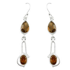 Clearance Sale- Brown smoky topaz 925 sterling silver dangle earrings jewelry d13890