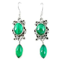 Clearance Sale- Natural green malachite (pilot's stone) 925 silver dangle earrings d13898