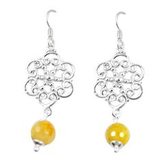 Clearance Sale- Natural golden tourmaline rutile 925 silver dangle earrings jewelry d13940