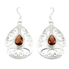 Clearance Sale- Brown smoky topaz 925 sterling silver dangle earrings jewelry d14016