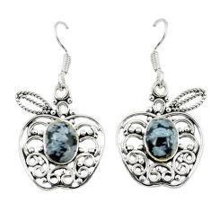 Clearance Sale- Natural black australian obsidian 925 silver dangle apple charm earrings d14062