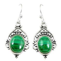 Clearance Sale- Natural green malachite (pilot's stone) 925 silver dangle earrings d14108
