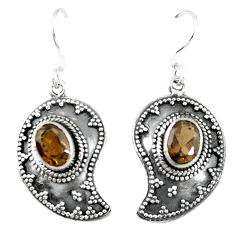 Clearance Sale- Brown smoky topaz 925 sterling silver dangle earrings jewelry d14143
