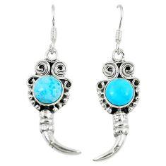 Clearance Sale- 925 sterling silver blue sleeping beauty turquoise dangle earrings d14144