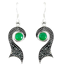 Clearance Sale- Green emerald quartz 925 sterling silver dangle earrings jewelry d14156