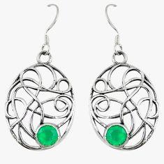 Clearance Sale- Green emerald quartz 925 sterling silver dangle earrings jewelry d14198